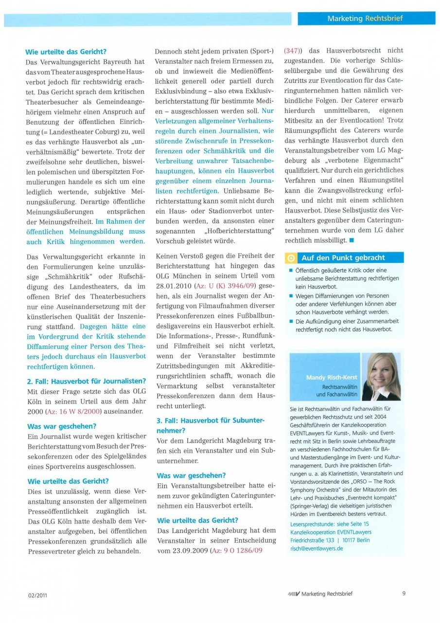 Rechtsbrief Marketing 02/11